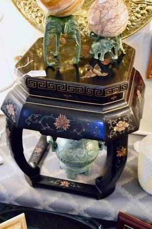 Black lacquer Chinese stool or side table