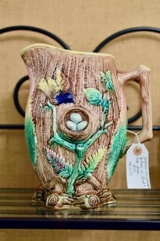 Gorgeous majolica pitcher w/ bird & nest, ferns