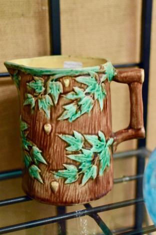 Majolica pitcher w/ ivy