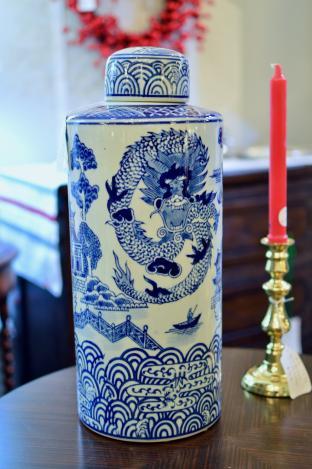 Tall blue & white jar
