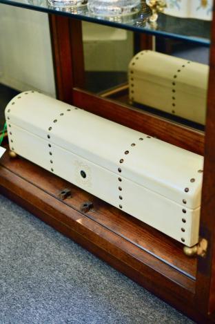 White leather telescope box