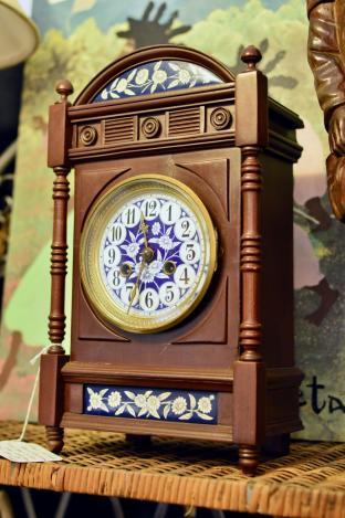 French shelf clock - blue & white porcelain dial