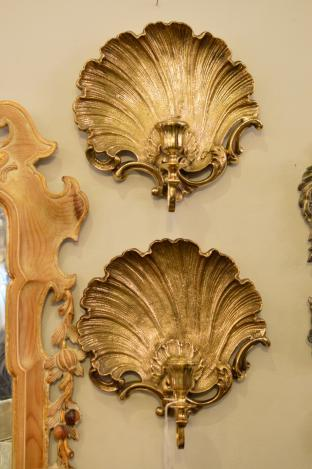 Pair of brass candle sconces
