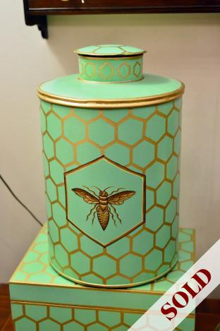 Honey comb tea caddy