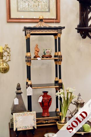 Pagoda top chinoiserie hanging cabinet w/ drawer