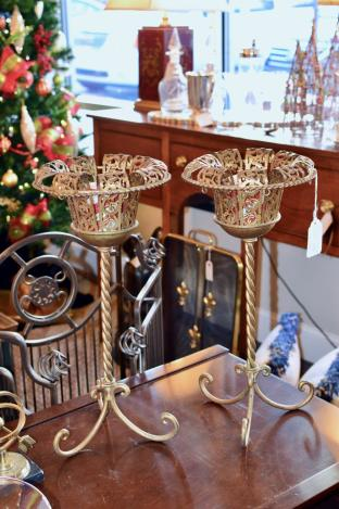 Pair of gold gilted candle holders