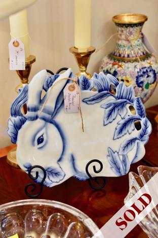 Porcelain blue & white bunny tray