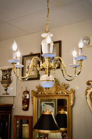White porcelain 6-arm chandelier
