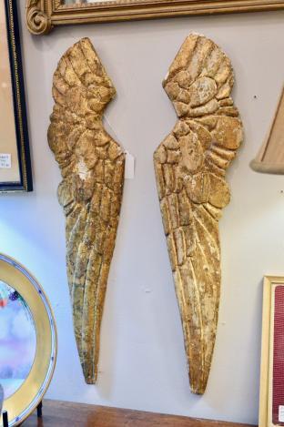 Vintage pair of carved Italian gold angel wings