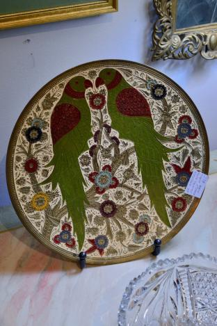 Embossed painted brass parrot wall plate