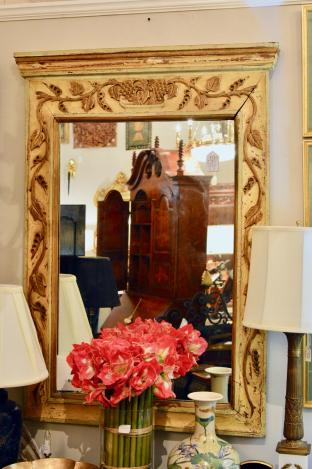 Early carved distressed paint mirror