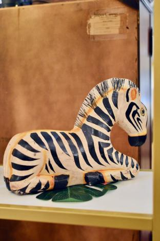 Vintage carved zebra