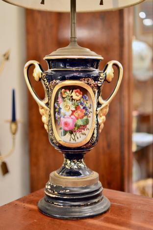 Ceramic floral lamp (1 of pair)