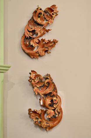 Carved scroll leaf wall art