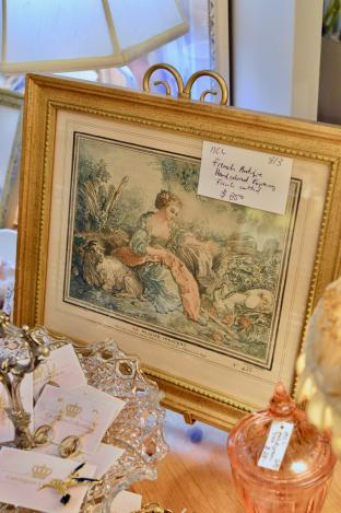 French antique hand colored engraving