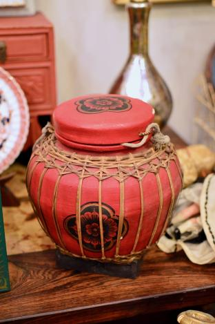 Red Asian wood lidded container