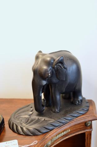 Iron wood carved elephant - 1 of pair