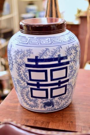 Blue & white lidded jar
