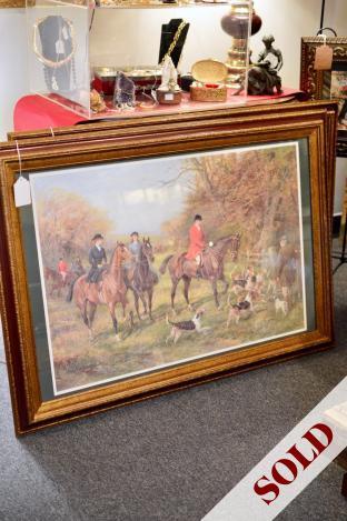Vintage equestrian print in wood frame