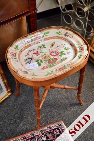 Antique English faux bamboo tray table w/ stone China tray
