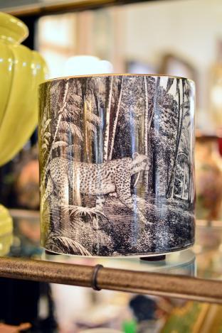 Black & white leopard planter jar