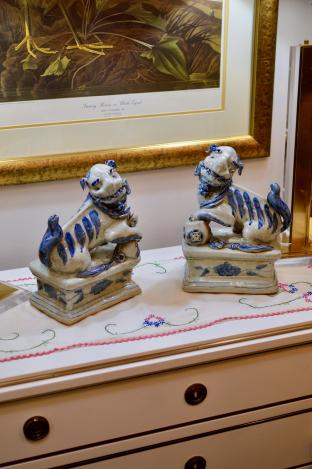 Pair of large foo dogs - blue & white