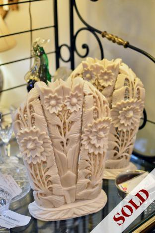 Intricate hand carved stone vases pair