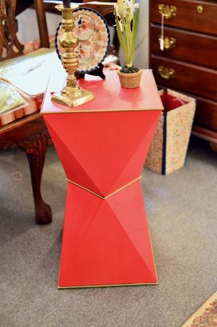 Red geometric end table