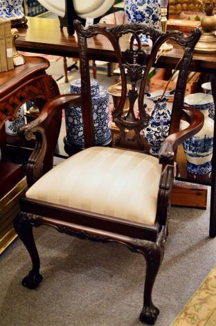Mahogany ball & claw arm chair