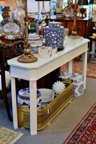 White / gold accent console table