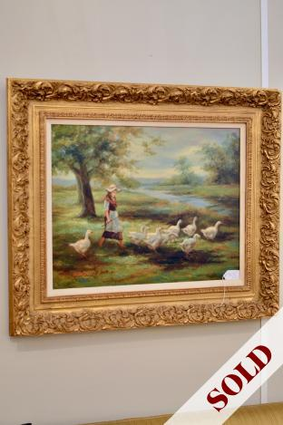 Goose girl painting