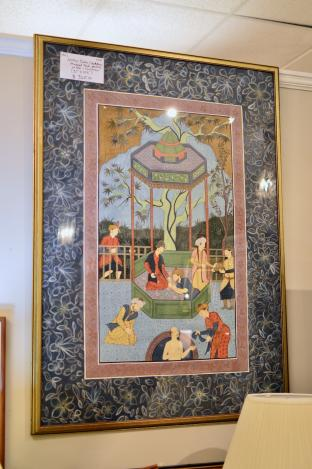 Mughal style painting on silk - court scene