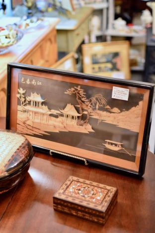Vintage Asian cork carved shadow box