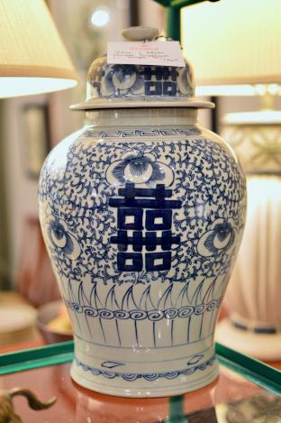 Blue and white double happiness jar