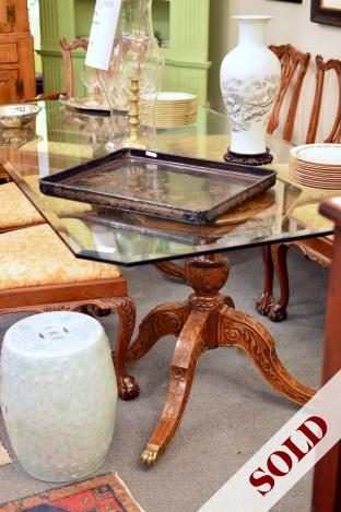 "86"" long glass top double pedestal table"