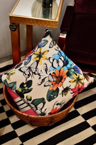 Pillow - multicolor butterfly print w/ velvet back