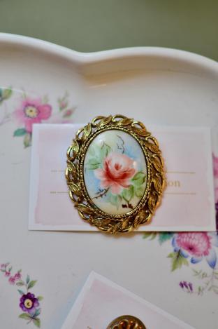 Hand painted enamel brooch