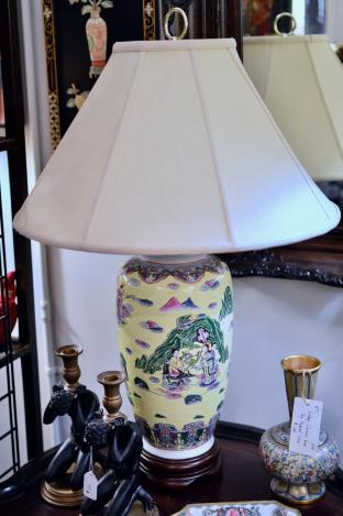 Yellow Asian lamp - 1 of pair