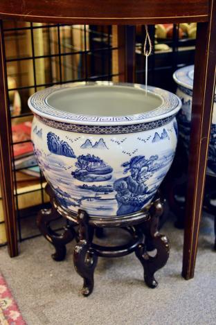 Blue & white ceramic planter on stand
