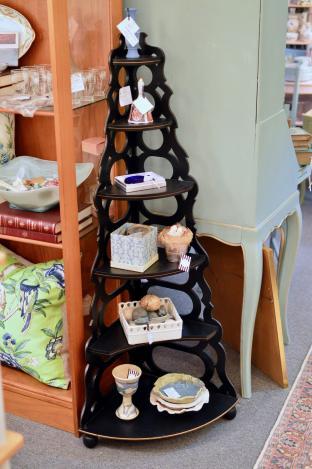 Black corner display shelf
