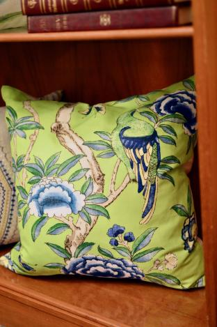 Blue/green spring birds pillow - 1 of pair