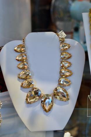 Champagne topaz glass necklace