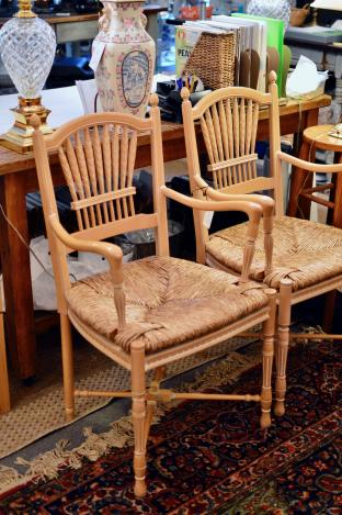 Pair of wheat back rush seat chairs