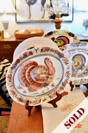 Vintage Japanese pottery turkey platter - soft colors