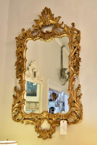 Vintage Italian made mid 20th C Baroque style gold gilt wall mirror