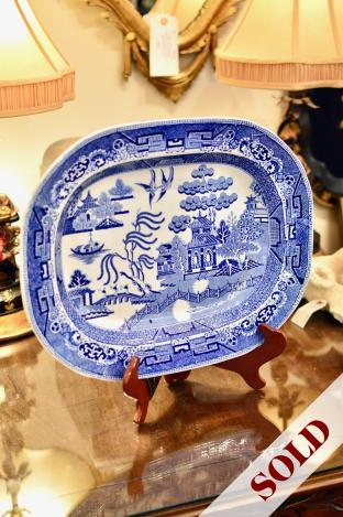19th C. English ironstone blue willow transfer platter - 18 inches