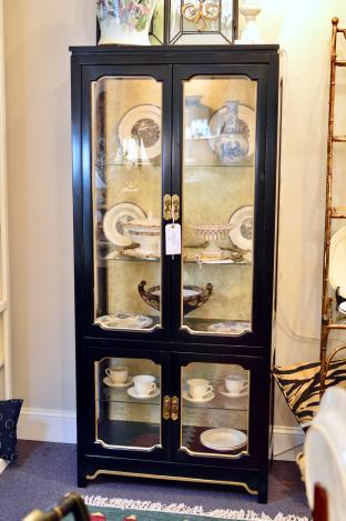 Vintage black & gold Hollywood regency lighted display cabinet