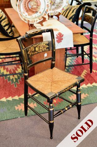 """Set of 6 vintage L. Hitchcock black & stencil """"Inn"""" chairs - rushed seats. Mid 20th C."""