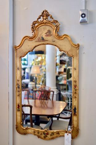 Chinoiserie decorated wall mirror gold accents figural motif - mid 20th C.