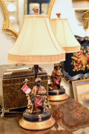 Pair of designer blackamoor figural table lamps, silk shades.